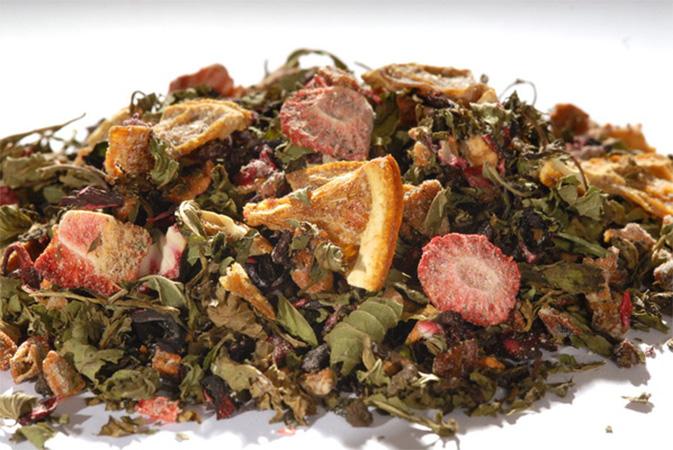 Strawberry loves Mint - hedelmähauduke - Runda Munken Teekauppa