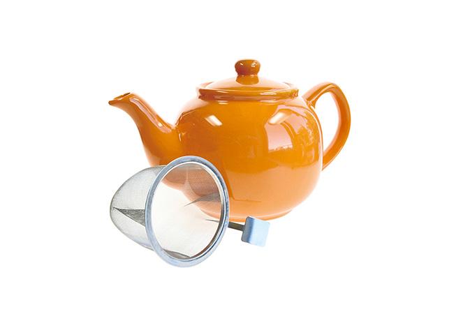 Värikäs teepannu oranssi 1,2 l, siivilä - Runda Munken Teekauppa