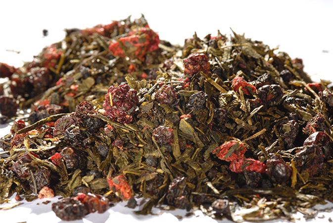 Red Berries Sencha - vihreä tee - maustettu tee - Runda Munken Teekauppa