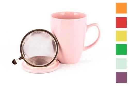 Värikäs teemuki 0,35 l, siivilä ja kansi - Runda Munken Teekauppa
